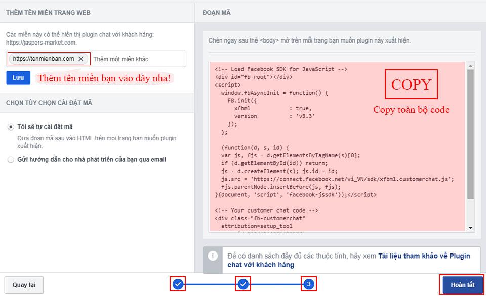 nhúng facebook messenger vào web - bước 2