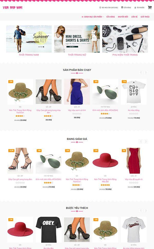 giao diện website thời trang