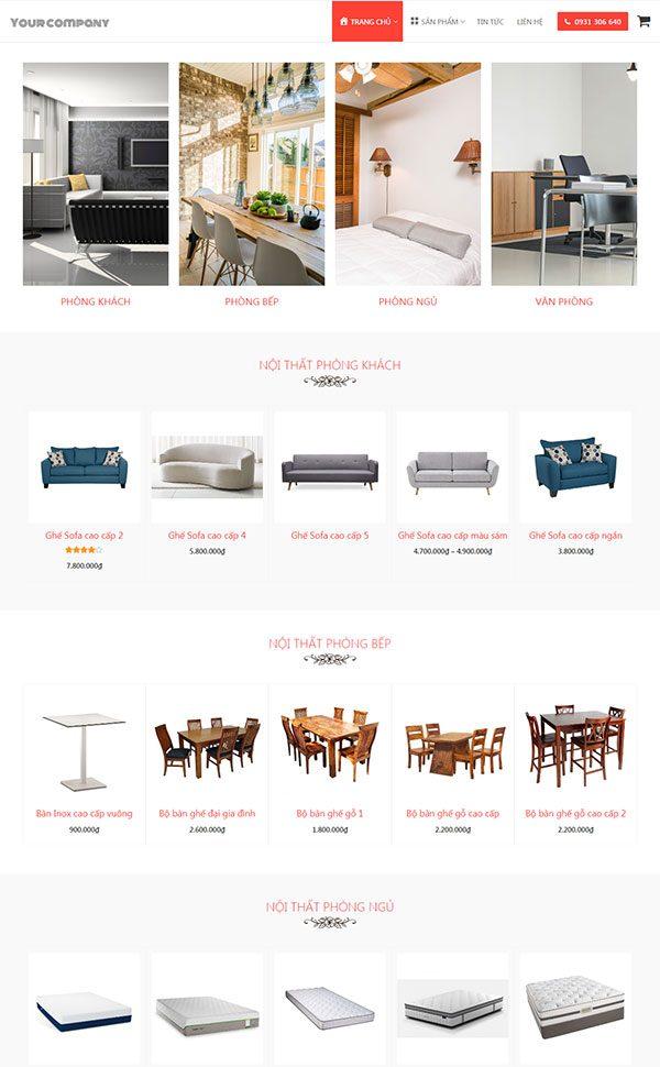 Giao diện web bán hàng nội thất