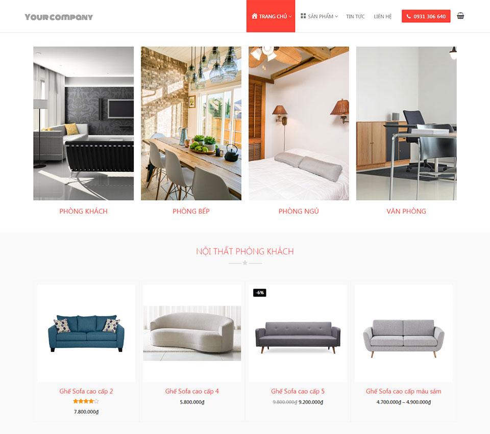Mẫu web bán hàng nội thất