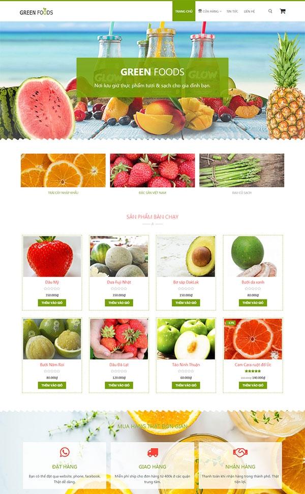 Mẫu web bán trái cây