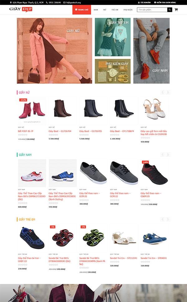 Mẫu web bán hàng thời trang giầy dép