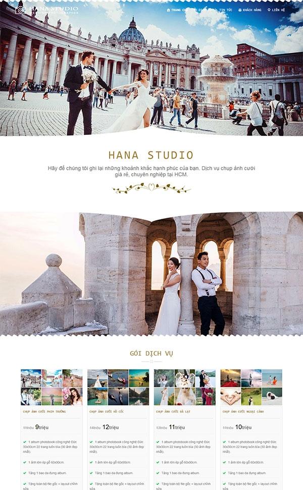 Mẫu web studio chụp ảnh cưới
