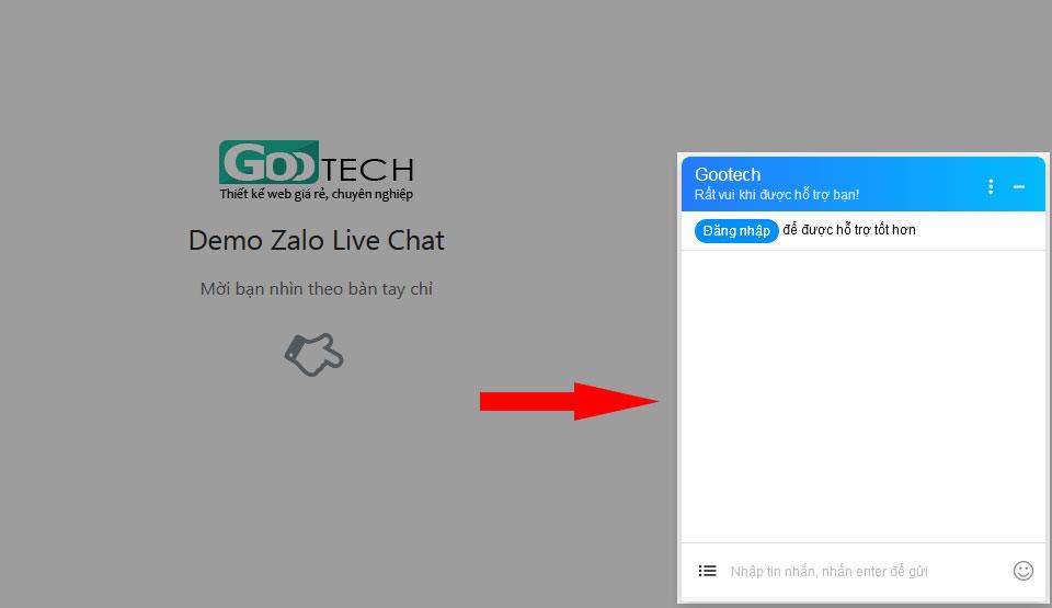 Kết quả khi nhúng chat Zalo vào web